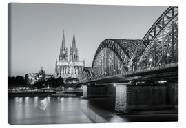 Canvas print  Cologne at night, black and white - Michael Valjak