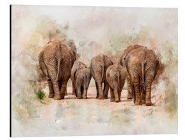 Aluminium print  Elephants in the savannah in Africa - Peter Roder