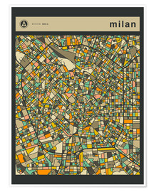 Premium poster  MILAN MAP - Jazzberry Blue