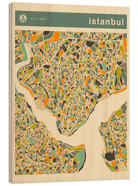 Wood print  Istanbul Map - Jazzberry Blue