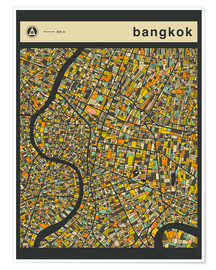 Premium poster  BANGKOK MAP - Jazzberry Blue