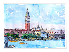 Premium poster  Venice Serenissima with St. Marks Bell Tower and Doge Palace - M. Bleichner