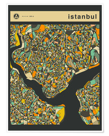 Premium poster  ISTANBUL MAP - Jazzberry Blue