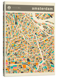 Canvas  AMSTERDAM MAP - Jazzberry Blue