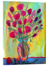 Acrylic print  Roses in glass vase - Diego Manuel Rodriguez