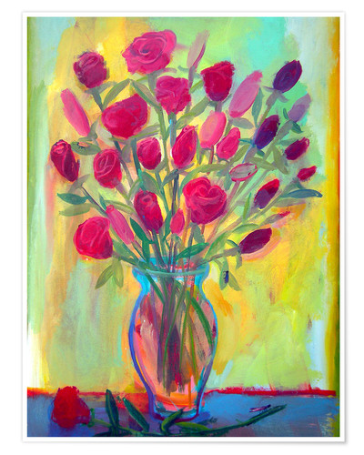 Premium poster Roses in glass vase
