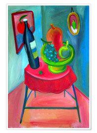 Premium poster  Table and wine - Diego Manuel Rodriguez