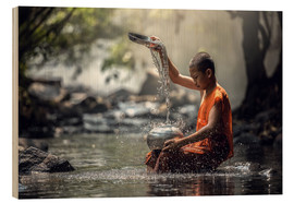 Wood print  Monk at the Water