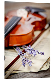 Acrylic print  Vintage composition with violin and lavender