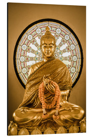 Buddha statue and Wheel of life background