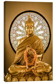 Canvas  Buddha statue and Wheel of life background