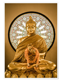 Premium poster  Buddha statue and Wheel of life background