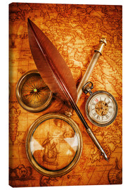 Canvas print  Compass and Clock