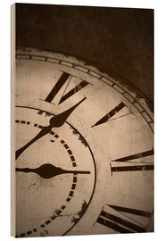 Wood print  picture of an old vintage clock