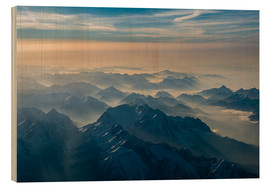 Wood print  Zugspitze in the haze - Denis Feiner