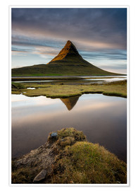 Premium poster Peaceful Sunset Kirkjufell