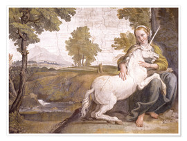 Premium poster Young woman with a white unicorn in her arms