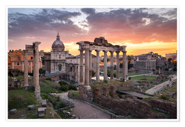 Poster  Dramatic sunrise at the Roman Forum in Rome, Italy - Jan Christopher Becke