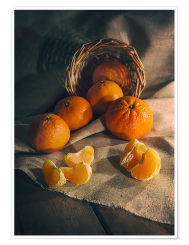 Premium poster Still life with fresh tangerines
