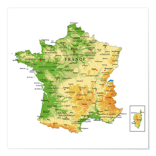 Premium poster Topography France