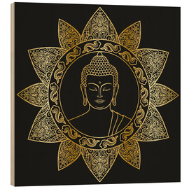 Wood print  Buddha in golden bloom