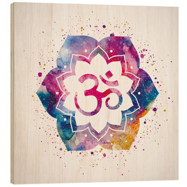 Wood print  Namaste watercolor flower