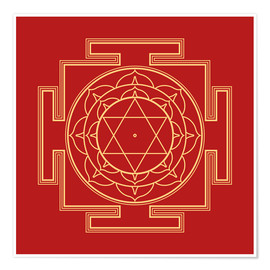 Premium poster Mandala Gold on Red