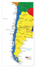 Premium poster  Chile and Argentina Political Map