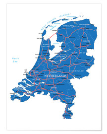 Premium poster Map Netherlands
