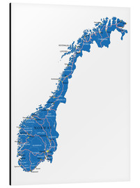 Aluminium print  Map Norway