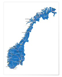 Premium poster  Map Norway
