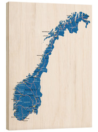 Wood print  Map Norway