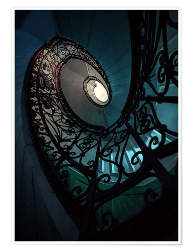 Premium poster Spiral staircase in blue and beige colors