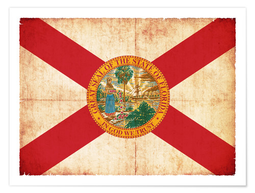 Premium poster Vintage Flag of Florida in grunge style