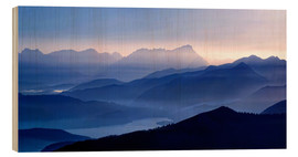 Wood print  Walchensee with Zugspitze in the evening light - Michael Rucker