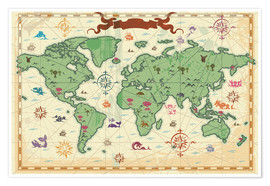 Premium poster treasure map