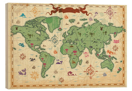 Wood print  treasure map - Kidz Collection