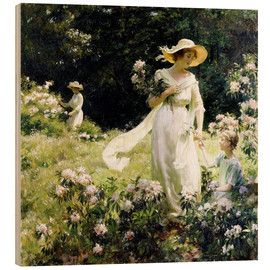 Wood print  Among the Laurel Blossoms - Charles Courtney Curran