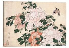 Canvas print  Peonies and a Butterfly - Katsushika Hokusai