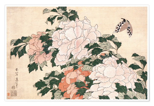 Premium poster Peonies and a Butterfly