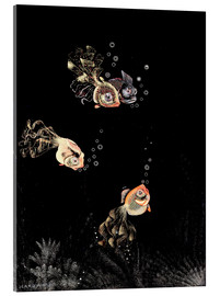 Acrylic glass  Underwater scene with red and golden fish - Jean Dunand