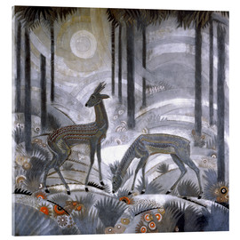 Acrylic print  Two deer in the woods - Jean Dunand