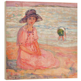 Wood print  Woman in the Pink Dress by the Sea - Henri Lebasque