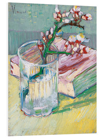 Foam board print  Flowering almond branch in a glass with a book - Vincent van Gogh