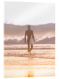 Acrylic print  Lonely surfer on the beach
