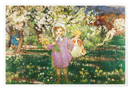 Premium poster Children in an Orchard in Blossom