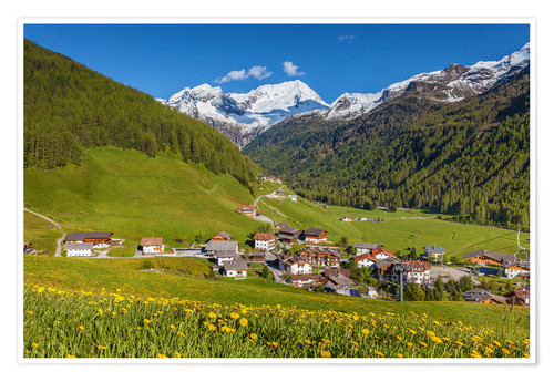 Premium poster Idyllic mountain village Rein in Taufers in South Tyrol