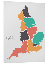 Foam board print  England map modern abstract with round shapes - Ingo Menhard