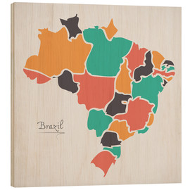 Wood print  Brazil map modern abstract with round shapes - Ingo Menhard