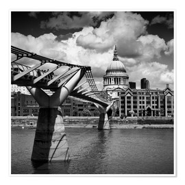 Premium poster LONDON Millennium Bridge and St Paul's Cathedral